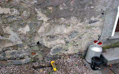 Vétusté du mur due à l'humidité